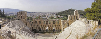 Panoramic of Odeon of Herodes Atticusin Athens.