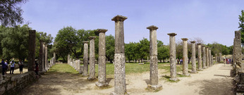 Panoramic of The Palaestra at Olympia, Greece.