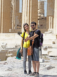 Tourists doing selfies at the Parthenon in Athens.