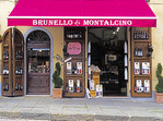 Wine shop selling local Brunello in Montalcino, Tuscany.