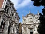 Facades of Campo San Rocco (Scuolo Grande di San Rocco, left) and Church of San Rocco (Saint Roch) in Venice.