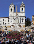 The Spanish Steps in Piazza di Spagna in Roman Baroqe style leading up the Trinita dei Monti church.