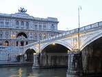 Corte di Cassazione, the supreme court  of Italy or Palace of Justice of Rome and the Umberto Bridge over the Tiber River.