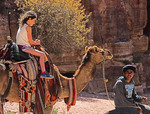 Riding camel at Petra.