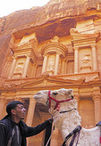 Camel man with his camel at The Treasury in Petra.