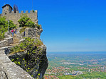 Fortress of Guaita on escarpment (La Rocca) of Mount Titano atop Republic of San Marino.