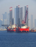Deep water oil rigs in harbor of Abu Dhabi
