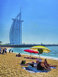 Jumeirah Beach with Burj al Arab Hotel in Dubai, UAE -- photo art painting