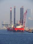 Deep water oil rigs in harbor of Abu Dhabi