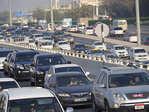 Heavy traffic congestion, on expressways of Abu Dhabi in the UAE.