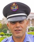 Policeman in downtown Shkodra, Albania.