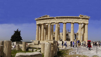Panoramic of Parthenon Temple on the Acropolis in Athens.