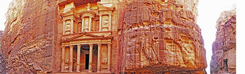 Panorama view of The Treasury at Petra.