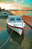 Boats at sunset in Dalmatian Coast marina at Krapanj, Croatia.  --Digital Photo Art Painting