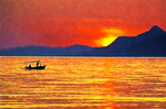 Sunset on the Dalmatian Coast at Makarska.  --Digital Photo Art Print