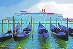 Costa cruise ship leaving Venice lagoon.  --Digital Photo Art Painting