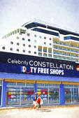 Celebrity Constellation in port next to Duty Free shop.  --Digital Photo Art Painting