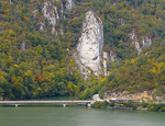 Head of last king of Dacia, Decebal (Decebalus) carved in stone on bank overlooking the Danube from Romanian side of river at Iron Gates gorge.