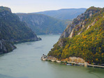 Iron Gate gorge entrance on the Danube River with Mraconia Convent or nunnery on Romania bank and Serbia to the left.