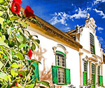 Boschendal Wine Estate Manor House in Cape Dutch style near Franschhoek, South Africa.            --Digital Photo Art Painting from original photograph