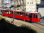 Belgrade red trolley.