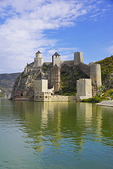 Golubac Fortress guarding the Iron Gates gorge of the Danube River in Serbia.