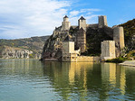 Golubac Fortress guarding the Iron Gate gorge of the Danube River in Serbia.