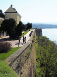 Petrovaradin Fortress overlooking Danube River at Novi Sad, Serbia.