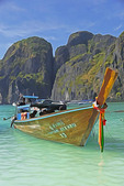 Long boat at Maya Bay on Phi Phi Leh Island, Thailand --Digital Photo Art Painting from original photograph
