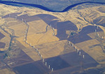 Wind turbines in agricultural fields in eastern Oregon.