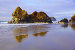 Sea stacks including Lion Rock at Arcadia Beach State Recreation Area in Seaside, Oregon.
