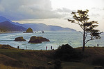 Oregon coast at Cannon Beach at dusk viewed from Ecola State Park.
