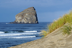 Beach and sand dunes on Cape Kiwanda at Pacific City wih large sea stack rock formation (Haystack or Chief Kiawanda Rock) offshore.