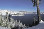 Oregon's Crater Lake with fresh winter snow.