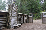 Fort Clatsop interior re-created at the Lewis and Clark National Historical Park near Astoria, Oregon.