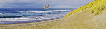Panoramic view of sea stack rock formation from Cape Kiwanda State Park, Oregon.