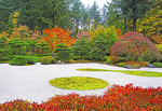 Japanese Garden in Portland, Oregon, in autumn.