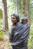 Statue of Sacajawea and her child, Jean Baptiste Charbonneau, at re-creation of Fort Clatsop at the Lewis and Clark National Historical Park near Astoria, Oregon.
