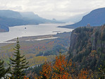 Columbia River Gorge on cloudy autumn day from Oregon viewpoint