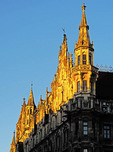 New Town Hall Gothic Revival architecture in the Marienplatz in Munich, Germany.