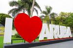 I Love Aruba sign in Oranjestad on the island of Aruba.
