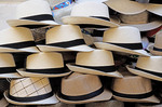 Panama hats sold on the street in Cartagena de Indias, Colombia.