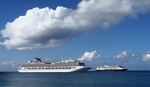 Cruise ships Carnival Splendor and Holland America Line's Rotterdam at Grand Cayman iskand.