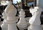 Chess pieces poolside on the MS Zuiderdam cruise ship.