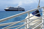 Holland America Line's Zuiderdam cruise ship anchored at their private island Half Moon Cay in the Bahamas viewed from a tender.
