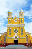 Santa Familia catholic church, Dutch architecture in Willemstad on the Caribbean island of Curacao.