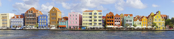 Colorful Dutch architecture on Willemstad waterfront on Caribbean island of Curacao.