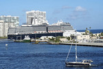 Port Everglades with sailboat and cruise ship Nieuw Amsterdam.
