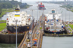 Cargo ships in Gatun Locks of Panama Canal.