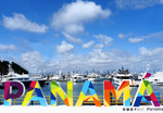 Panama City sign promoting tourism.